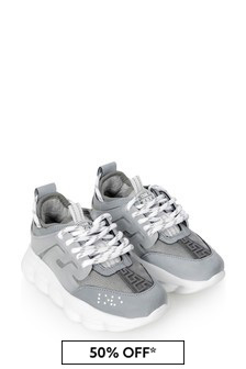 Versace Boys Silver/Grey Trainers