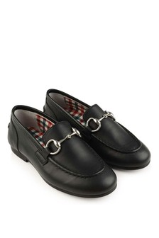 GUCCI Kids Black Jordaan Leather Loafers