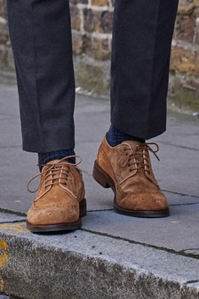 Stained Sole Suede Derby Shoes