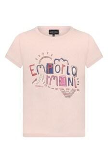 Girls Light Pink Cotton T-Shirt