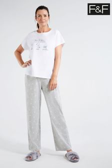 F&F White Mrs Hinch Time To Hinch Pyjamas
