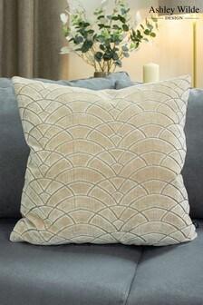 Ashley Wilde Gold Dinaric Graphic Cut Velvet Cushion