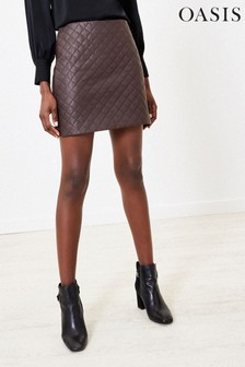 Oasis Brown Faux Leather Mini Skirt