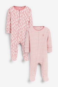 2 Pack Bunny Zip Sleepsuits (0mths-2yrs)