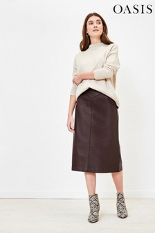 Oasis Brown Faux Leather Midi Skirt