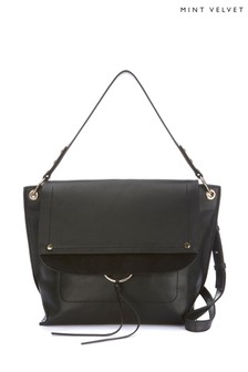 Mint Velvet Black Sadie Leather Shoulder Bag
