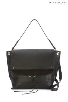 Mint Velvet Black Sadie Leather Shoulder Bag