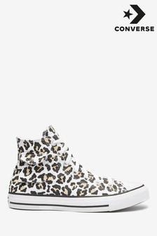 Vysoké tenisky s leoparďou potlačou a vreckom Converse
