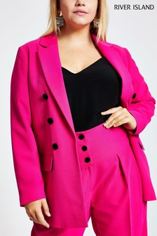 River Island Pink Plus Size Hayley Velvet Button Blazer