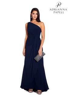 Adrianna Papell Blue One Shoulder Jersey Dress