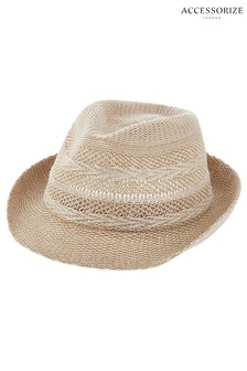 Accessorize Natural Chevron Packable Trilby Hat