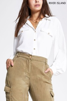River Island Long Sleeve Sandy Glam Utility Blouse