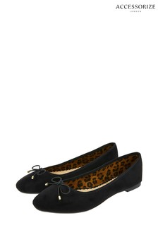 Accessorize Black Charlotte Leopard Lined Ballerinas