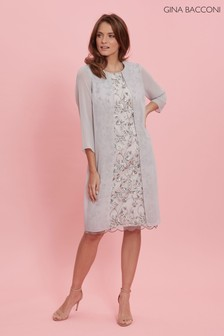 Gina Bacconi Grey Leora Lace And Chiffon Over Dress