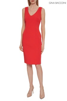 Gina Bacconi Red Merna Crepe Shift Dress