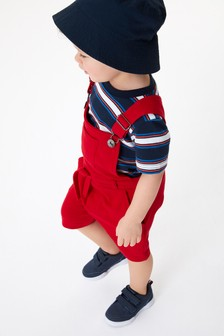 Short Dungarees And Stripe T-Shirt Set (3mths-7yrs)