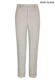 River Island Grey Skinny Herringbone Trousers
