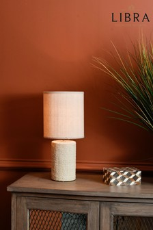 Libra Small Cream Textured Porcelain Table Lamp