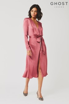 Ghost London Pink Meryl Satin Dress