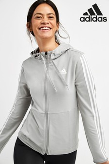 adidas Grey 3 Stripe Full Zip Hoody