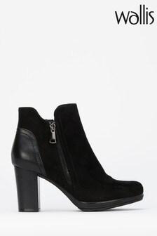 Wallis Black Side Zip Casual Platform Boots