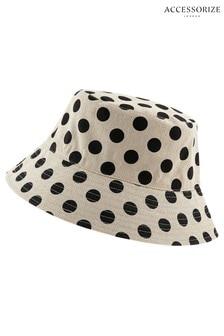 Accessorize Black Spotty Reversible Bucket Hat