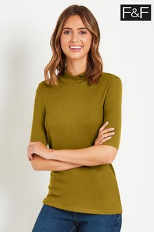 F&F Yellow Roll Neck Top