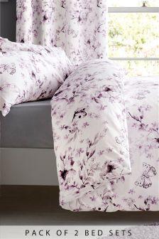 Pack de 2 juegos de cama con diseño de flores y mariposas