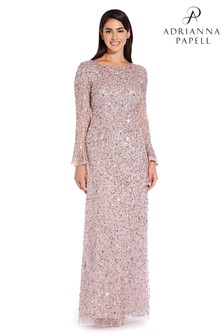 Adrianna Papell Pink Beaded Long Dress