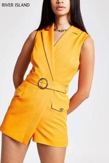 River Island Orange Tailored Playsuit