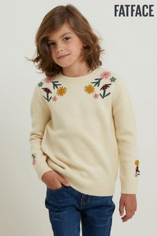FatFace Natural Embroidered Crew Neck Knit Jumper
