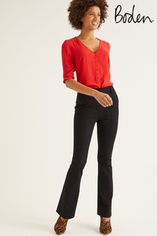Boden Black Bath Bi-Stretch Flare Trousers