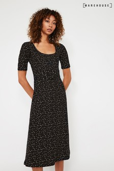 Warehouse Black Spot Print Scoop Midi Dress