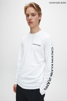 Calvin Klein Jeans White Institutional Long Sleeve T-Shirt