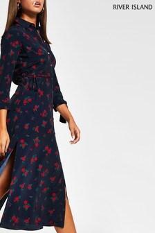 River Island Navy Floral Tie Side Asymmetrical Shirt Dress