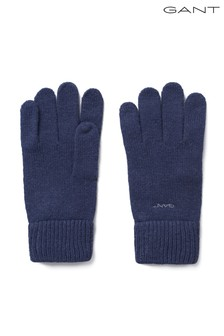 GANT Blue Knitted Wool Gloves