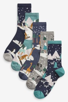 Skiing Animals Ankle Socks Five Pack