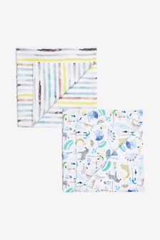 2 Pack Safari Animal And Stripe Muslin Squares