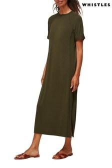 Whistles Longline Split Hem Jersey Midi Dress