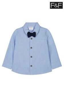 F&F Blue Dobby Shirt With Bow Tie
