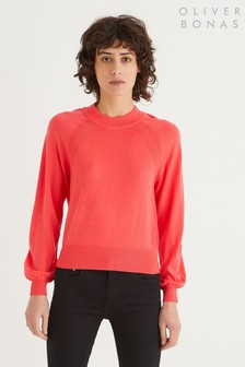 Oliver Bonas Coral Round Neck Knitted Jumper