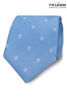 T.M. Lewin Blue/White Fleur De Lys Silk Wide Tie