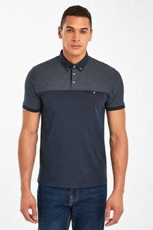 Slim Fit Woven Collar Poloshirt