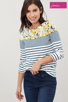 Joules Cream Harbour Print Jersey Top
