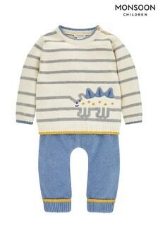 Monsoon Children Cream New Born Stripe Dino Knitted Set