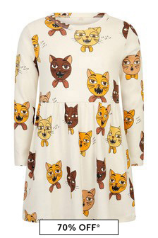 Girls Ivory Organic Cotton Cat Choir Dress
