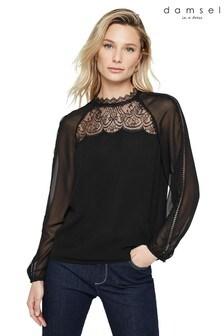 Damsel In A Dress Black Sania Lace Detail Blouse
