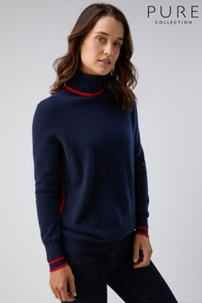 Pure Collection Blue Cashmere Boyfriend Polo Neck Sweater