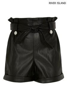 River Island Black Paperbag Shorts