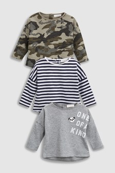 מארז שלישיית חולצות טי עם כיתוב ודוגמת הסוואה (0 חודשים-2 שנים)